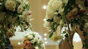 wedding decorations with flowers interior of a wedding hall