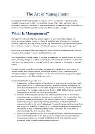 statement of purpose and objectives the art of management