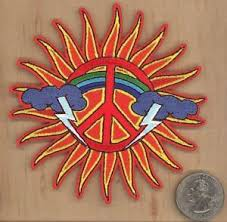 sun peace sign clouds iron on sew on embroidered patch 4 x 4