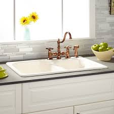 40 Inch Kitchen Sink 33 Elgin 60 40 Bisque Bowl Cast Iron Drop In Kitchen Sink