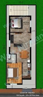 interior layout for south facing plot way2nirman 100 sq yds 18x50 sq ft south face house 2bhk elevation