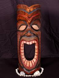 vintage crafted wooden carved tiki mask 20 happy tiki