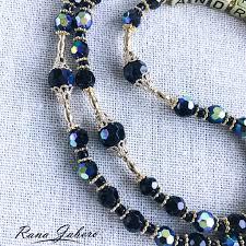 gold iridescent glass rosary you pick color rana jabero