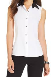 sleeveless collared blouse kasper white black s 14 sleeveless collared button