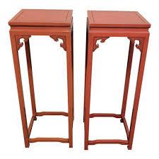 vintage pedestal side table vintage asian pedestal side tables a pair design plus gallery
