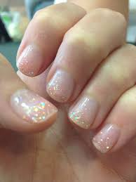 clear gel manicure with pink glitter nice clean look for all