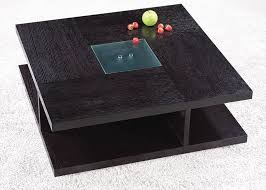 Square Black Wood Coffee Table With Glass Center Oceanside - Designer center table