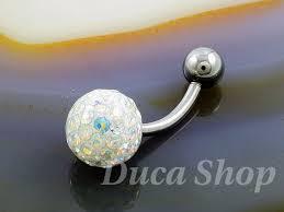 piercing buric aur piercing pentru buric model de argint cu zirconiu alb cod 395