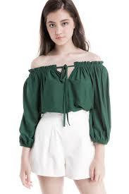 Shoulder Top - tie front shoulder top emerald wardrobemess