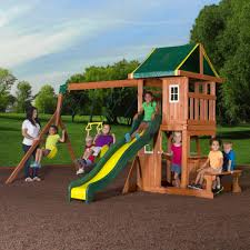 Playsets Outdoor Backyard Discovery Oakmont Cedar Wooden Swing Set Walmart Com
