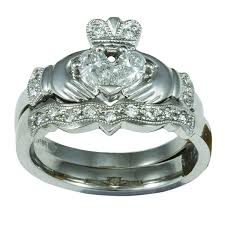 claddagh wedding ring sets 14k white gold claddagh engagement ring wedding ring set