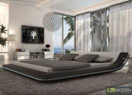 Black Platform Bed Black King Platform Bed With Led Lighting