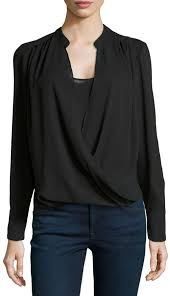 black wrap blouse neiman wrap front sleeve blouse black where to buy