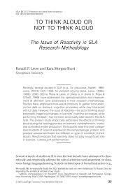 Dual Diagnosis Worksheets To Think Aloud Or Not To Think Aloud The Issue Of Reactivity In