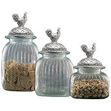 clear canisters kitchen amazon com clear glass kitchen canister set pewter rooster lids