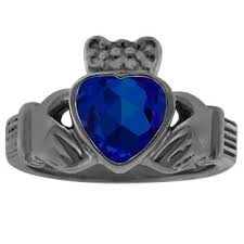 black and blue wedding rings blue sapphire heart claddagh wedding ring in black rhodium