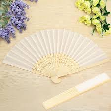 folding fans hot sale fabric fans white silk folding fan wedding party