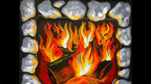 how to paint fire and a fireplace beginner acrylic painting