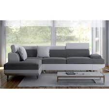 canapé d angle blanc et gris canapé d angle convertible en pu et tissu kivu coloris gris et