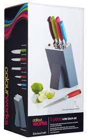 kitchen craft colourworks 5 piece knife set with storage block