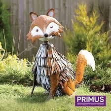 primus woodland range metal garden ornaments fox owl hedgehog