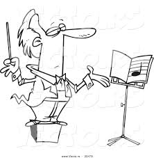 vector of a cartoon conductor on a podium coloring page outline