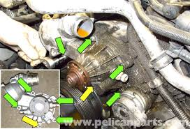 bmw e60 5 series n62 8 cylinder coolant pump replacement pelican