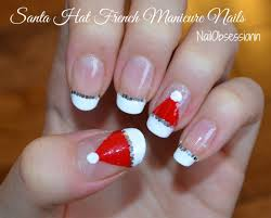 easy santa hat french manicure nails for christmas youtube