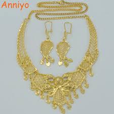 wedding gift jewellery anniyo arab jewelry sets necklace earrings gold color wedding gift