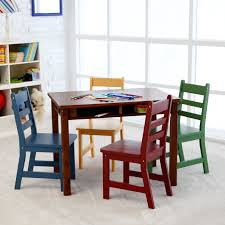 Minnie Mouse Table And Chairs Furniture Dark Brown High Gloss Finish Table Chairs Set For