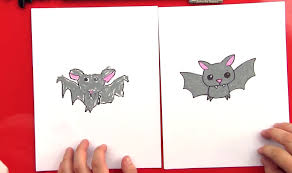 how to draw a cartoon bat art for kids hub