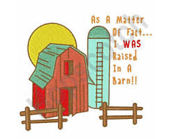 Raised In A Barn Raised Embroidery Etsy