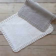 tappeto blanc mariclo tappeto bagno shabby chic bordo crochet colore polvere 65x100