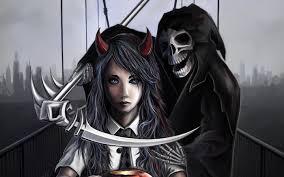 halloween costumes 1800 images scythe skulls schoolgirls grim reaper fantasy 2880x1800