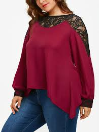 burgundy blouse plus size lace panel sleeve asymmetrical blouse in burgundy