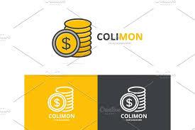 vector of gold coin logo unique cash and bank logotype design