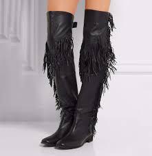 womens boots knee high black black brown flat tassel knee high boots 2017