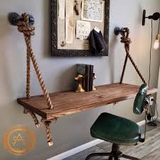 new rope pipe suspended wood wall mounted standing computer desk floating shelf by styleoes