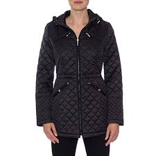 laundry by design hooded jacket laundry by design hooded quilted jacket blk m at amazon women s