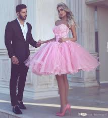 charming puffy pink homecoming dress sweetheart appliqued tulle