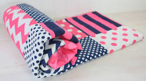 Pink And Blue Girls Bedding by Baby Blanket Minky Blanket Crib Blanket Nautical