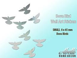 Birds Home Decor Chrome Silver Dove Birds Home Decor Art Wall Stickers Small 8 X
