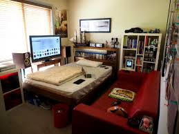 bedroom cute calm wall paint and cool game item facing couch