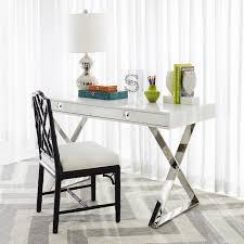 Sofa Desk Table by Channing White And Nickel Desk Modern Furniture Jonathan Adler