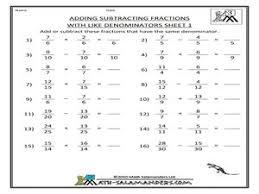 adding fractions with common denominators worksheet adding