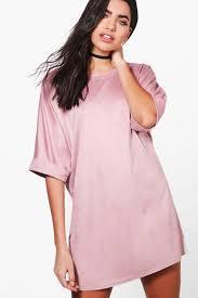 abi suedette oversized t shirt dress boohoo