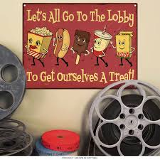 Metal Signs Home Decor Let U0027s Go To The Lobby Snacks Metal Sign Home Theater Signs