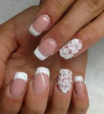 french manicure with 3d flowers by tanya angelova nail art