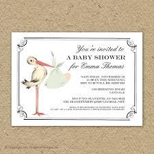 stork baby shower vintage stork baby shower invitation baby girl stork shower