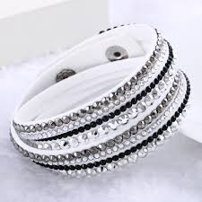 crystal leather wrap bracelet images Leather wrap bracelet crystal multilayer bracelets bangles for jpg
